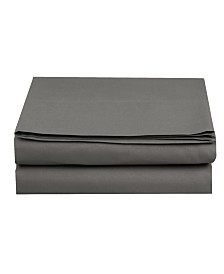 Elegant Comfort Silky Soft Single Flat Sheet Full Gray