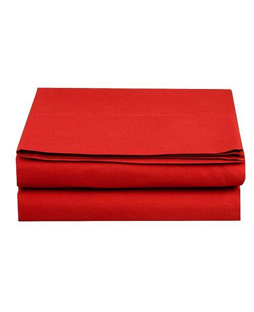 Elegant Comfort Silky Soft Single Flat Sheet  California King Red