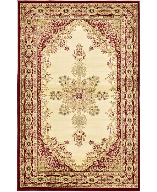 Bridgeport Home Belvoir Blv1 Ivory/Red 5' x 8' Area Rug