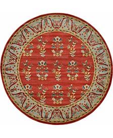 Ojas Oja1 Red 8' x 8' Round Area Rug