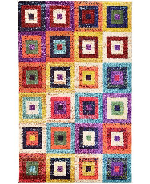 "Bridgeport Home Newwolf New2 Multi 3' 3"" x 5' 3"" Area Rug"