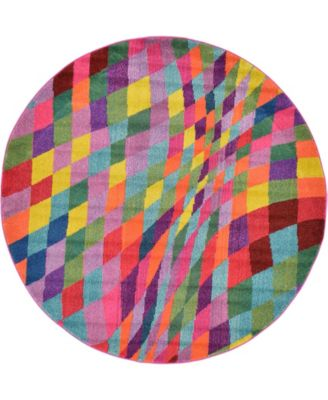 Newwolf New2 Multi 6' x 6' Round Area Rug