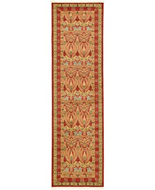 "Orwyn Orw3 Red/Tan 2' 7"" x 10' Runner Area Rug"
