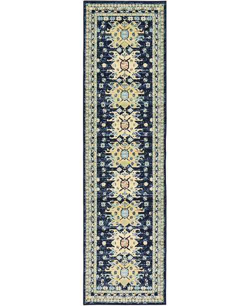 "Bridgeport Home Charvi Chr1 Navy Blue 2' 7"" x 10' Runner Area Rug"