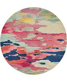 Newwolf New4 Pink 6' x 6' Round Area Rug