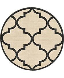 """Arbor Arb3 Beige/Black 3' 3"""" x 3' 3"""" Round Area Rug"""