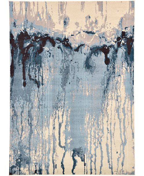 Bridgeport Home Newwolf New3 Light Blue 7' x 10' Area Rug