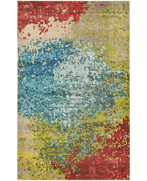 Bridgeport Home Newwolf New3 Blue 5' x 8' Area Rug