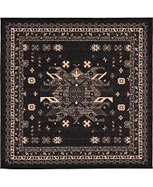 Bridgeport Home Charvi Chr1 Black 8' x 8' Square Area Rug