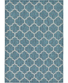 Bridgeport Home Pashio Pas5 Teal 7' x 10' Area Rug