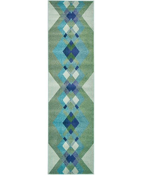 "Bridgeport Home Newwolf New4 Green 2' 7"" x 10' Runner Area Rug"