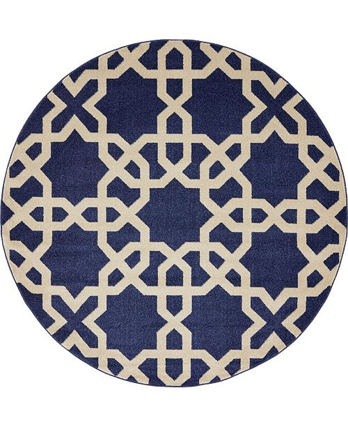Bridgeport Home Arbor Arb5 Navy Blue 6' x 6' Round Area Rug