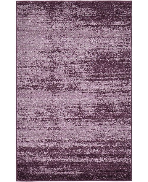 "Bridgeport Home Lyon Lyo3 Violet 3' 3"" x 5' 3"" Area Rug"