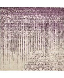 Lyon Lyo2 Purple 8' x 8' Square Area Rug