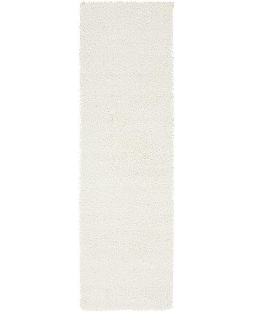 """Bridgeport Home Salon Solid Shag Sss1 White 2' x 6' 7"""" Runner Area Rug"""
