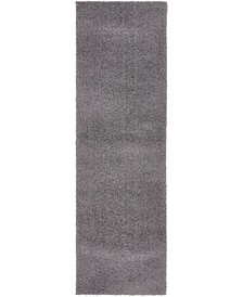 "Salon Solid Shag Sss1 Dark Gray 2' x 6' 7"" Runner Area Rug"