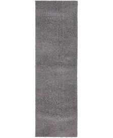 "Bridgeport Home Salon Solid Shag Sss1 Dark Gray 2' x 6' 7"" Runner Area Rug"