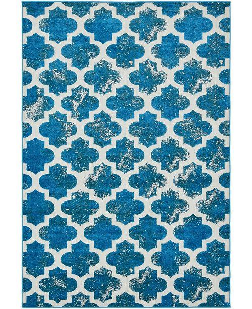 Bridgeport Home Pashio Pas2 Turquoise 6' x 9' Area Rug