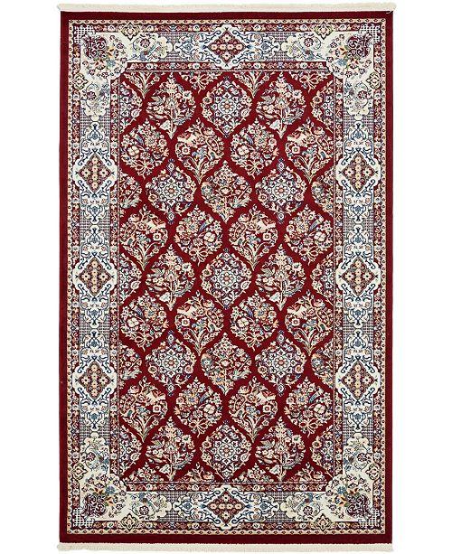 Bridgeport Home Zara Zar6 Burgundy 5' x 8' Area Rug