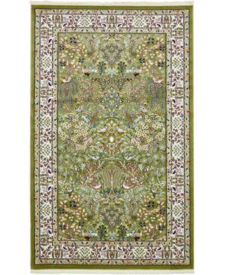 Zara Zar7 Green 5' x 8' Area Rug
