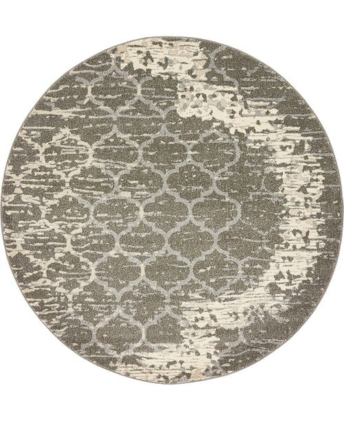Bridgeport Home Arbor Arb8 Light Gray 6' x 6' Round Area Rug