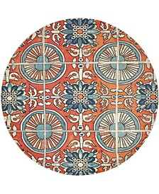 Newwolf New5 Orange 8' x 8' Round Area Rug