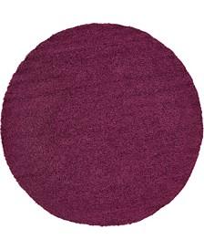 "Exact Shag Exs1 Eggplant Purple 8' 2"" x 8' 2"" Round Area Rug"