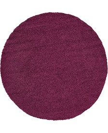 "Bridgeport Home Exact Shag Exs1 Eggplant Purple 8' 2"" x 8' 2"" Round Area Rug"