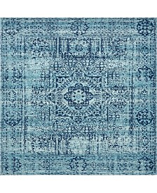 "Bridgeport Home Wisdom Wis3 Turquoise 8' 4"" x 8' 4"" Square Area Rug"