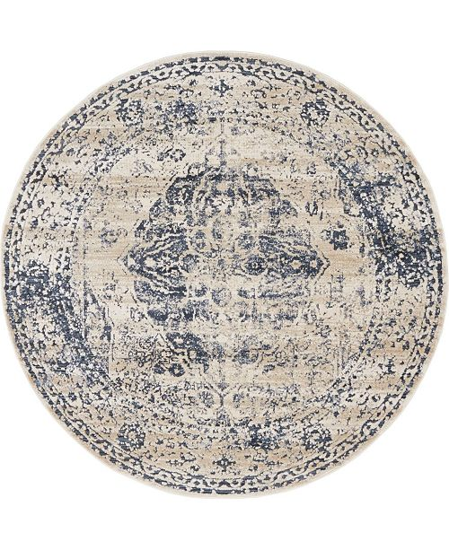 Bridgeport Home Odette Ode2 Dark Blue 4' x 4' Round Area Rug