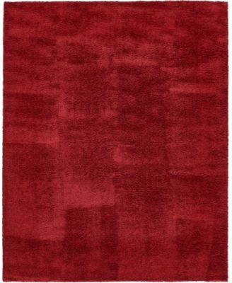 Salon Solid Shag Sss1 Red 8' x 10' Area Rug