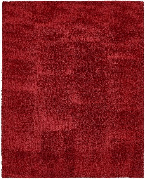 Bridgeport Home Salon Solid Shag Sss1 Red 8' x 10' Area Rug