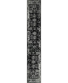 Basha Bas1 Black 2' x 13' Runner Area Rug