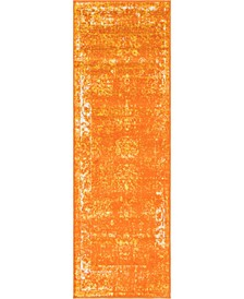 "Basha Bas1 Orange 2' x 6' 7"" Runner Area Rug"