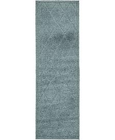 "Filigree Shag Fil1 Light Blue 2' x 6' 7"" Runner Area Rug"