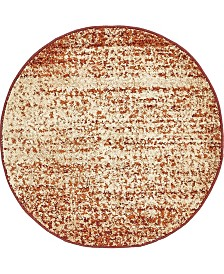 "Bridgeport Home Jasia Jas08 Terracotta 3' 3"" x 3' 3"" Round Area Rug"
