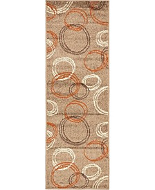Jasia Jas05 Light Brown 2' x 6' Runner Area Rug