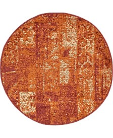"Bridgeport Home Jasia Jas07 Terracotta 3' 3"" x 3' 3"" Round Area Rug"
