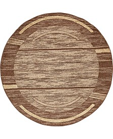 Jasia Jas11 Brown 8' x 8' Round Area Rug