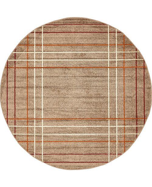 Bridgeport Home Jasia Jas13 Light Brown 8' x 8' Round Area Rug