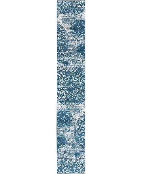 Bridgeport Home Basha Bas7 Blue 2' x 13' Runner Area Rug