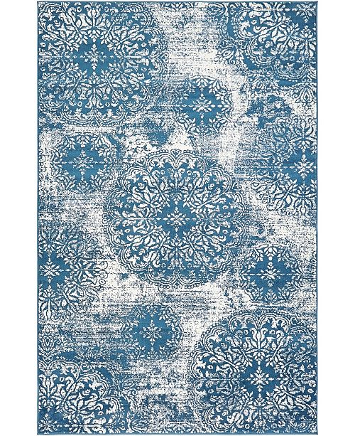 Bridgeport Home Basha Bas7 Blue 5' x 8' Area Rug