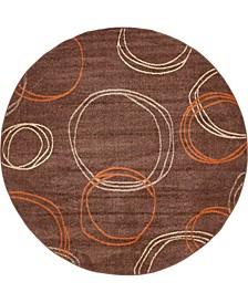 Jasia Jas05 Brown 8' x 8' Round Area Rug