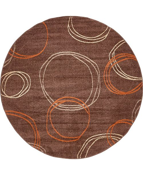 Bridgeport Home Jasia Jas05 Brown 8' x 8' Round Area Rug