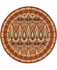 Orwyn Orw3 Red/Beige 8' x 8' Round Area Rug
