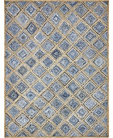 Bridgeport Home Braided Square Bsq6 Blue 9' x 12' Area Rug