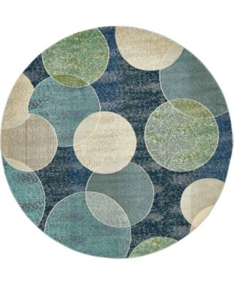 Crisanta Crs6 Navy Blue 8' x 8' Round Area Rug