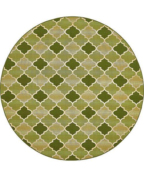 Bridgeport Home Pashio Pas1 Green 8' x 8' Round Area Rug