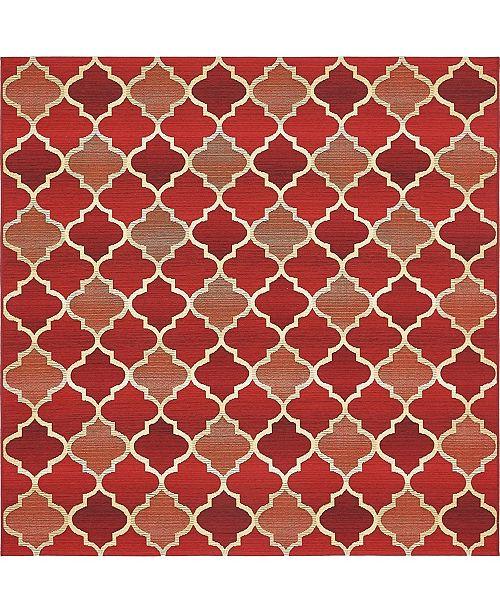 Bridgeport Home Pashio Pas1 Red 6' x 6' Square Area Rug