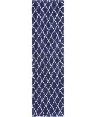 "Fazil Shag Faz3 Navy Blue 2' 7"" x 10' Runner Area Rug"